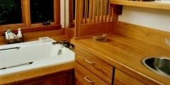 sinker cypress counter , vanity and tub surround 072