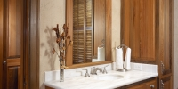 Albany Woodworks Heart Cypress vanity cabinets, moldings, heart pine flooring.