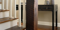 Custom stairs and pine beam newel post home remodel