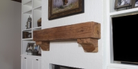 Pine Beam Style Mantel and Corbels Sandblast Treatment