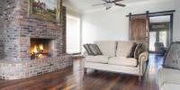 living room rustic pine flooring