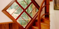 Copy of sinker cypress paneling  and custom stair rail  pine stairs063