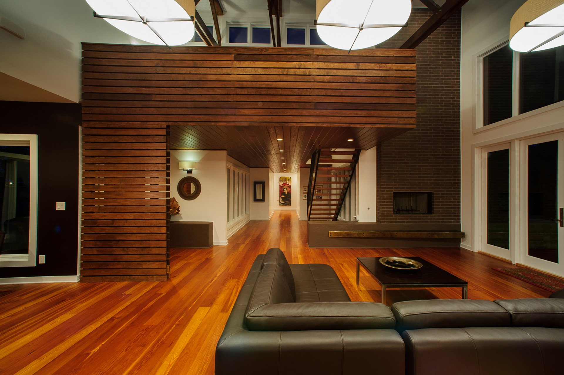 Reclaimed pine flooring with pine wall paneling