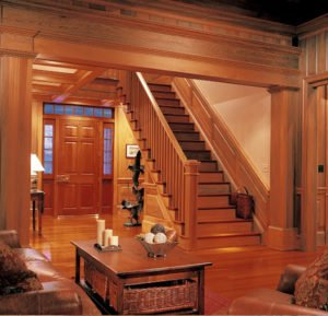 Sinker Cypress Stairs, Cypress Entry Door, Cypress Paneling and Cased Opening, Prestige Collection Antique Pine Flooring