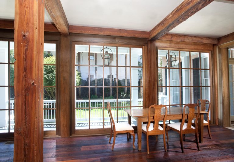 Cypress Windows, Pine Beams, Orleans Collection Flooring