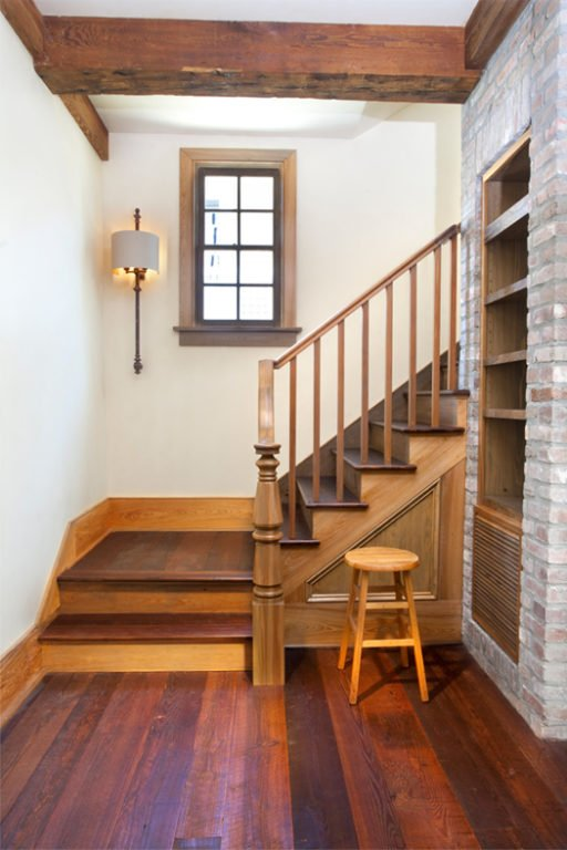 Orleans Collection Antique Pine Flooring and Stairtreads with Cypress trim