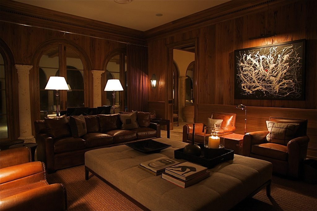 cypress wall paneling in study