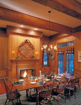 exposed pine beams with cypress wall paneling dining room